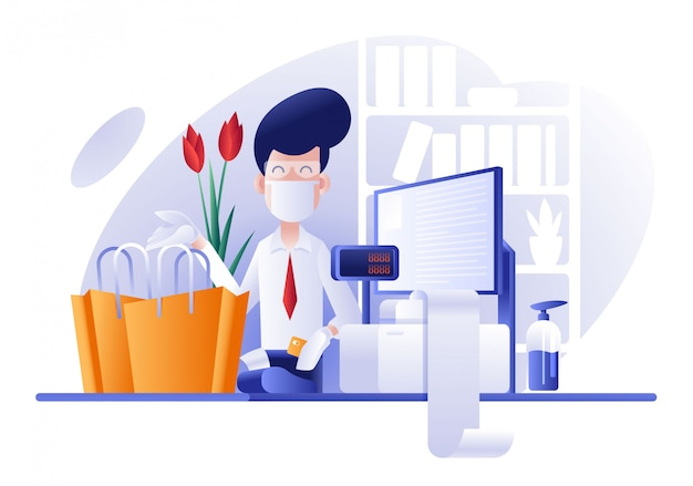 Winkelcentrum kassamedewerker dient het product met de juiste veiligheid aan de klant