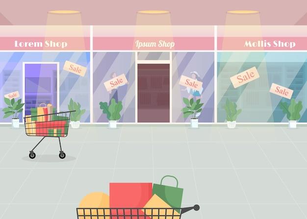 Winkelcentrum tijdens seizoensgebonden verkoop egale kleur illustratie. winkelen met korting. aankopen en tassen in karren. consumentisme, commercie. supermarkt 2d cartoon interieur met modewinkels op achtergrond