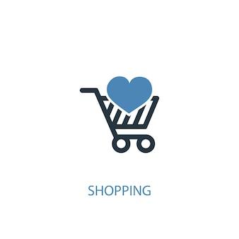 Winkelconcept 2 gekleurd icoon. eenvoudige blauwe elementenillustratie. winkelen symbool conceptontwerp. kan worden gebruikt voor web- en mobiele ui/ux