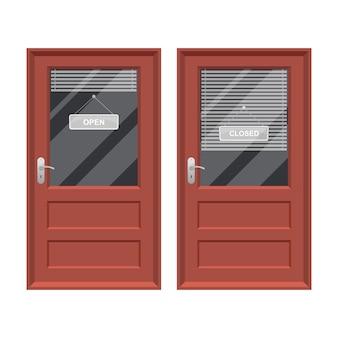 Winkeldeur met de open en gesloten illustratie van het teken vectorontwerp die op wit wordt geïsoleerd
