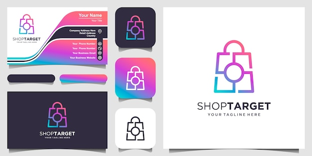 Winkeldoel, tas gecombineerd met doelteken logo ontwerpen sjabloon