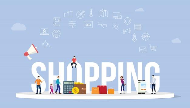 Winkelen bedrijfsconcept met grote woordstijl en pictogram met wat geld betaling