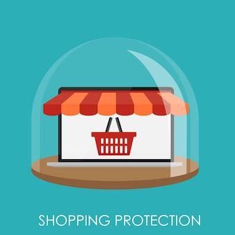 Winkelen bescherming plat concept voor mobiele apps. eps10 Premium Vector