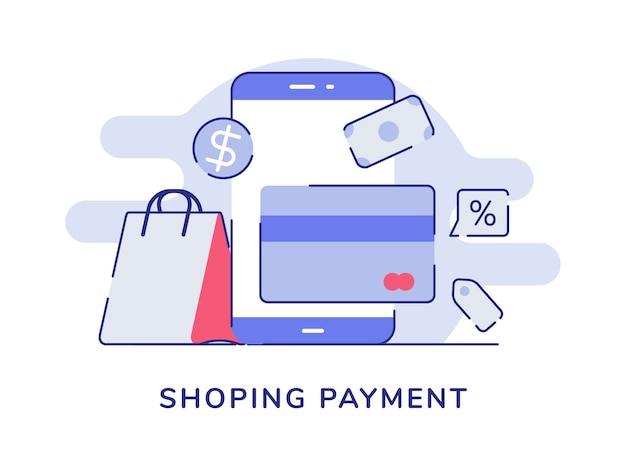 Winkelen betaling concept smartphonekaart bank geld dollar zak witte geïsoleerde achtergrond