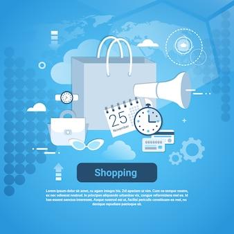 Winkelen commerce webbanner met kopie ruimte