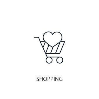 Winkelen concept lijn pictogram. eenvoudige elementenillustratie. winkelen concept schets symbool ontwerp. kan worden gebruikt voor web- en mobiele ui/ux