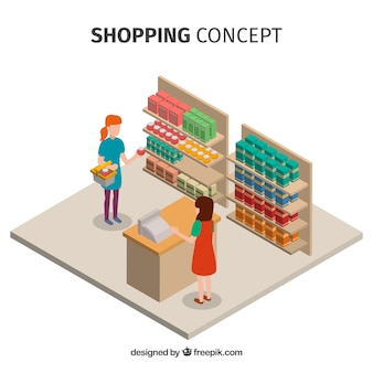 Winkelen concept met mensen in isometrische weergave