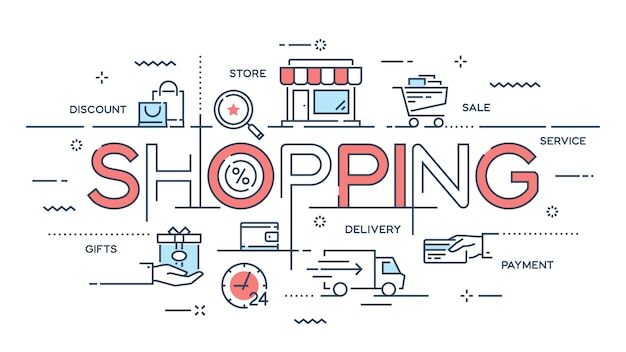 Winkelen, e-commerce, detailhandel, verkoop, bezorgservice dunne lijn c