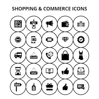 Winkelen en commerce iconen
