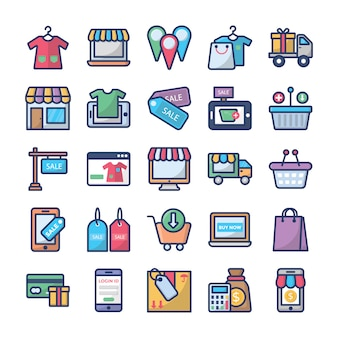 Winkelen en handel icons set