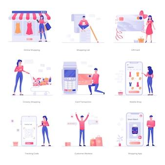Winkelen en handel karakter illustraties
