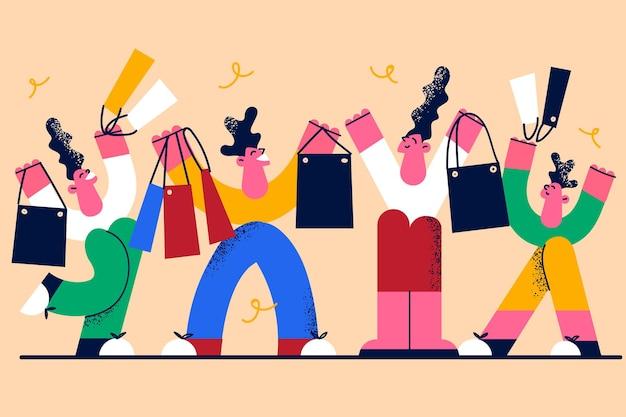 Winkelen en verkopen in winkelconcept