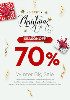 Winkelen flyer of poster sjabloon voor kerstmis.