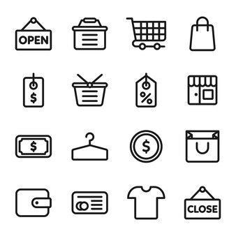 Winkelen icon pack, overzicht pictogramstijl