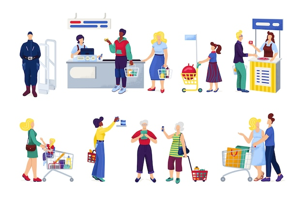 Winkelen in de supermarkt, klanten kopen kruidenierswaren, set van witte illustraties. peopleshoppers op de markt, bij de kassier, in een winkelcentrum, winkel of winkel, gezin met kar of mand.