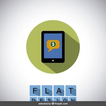 Winkelen in tablet icoon