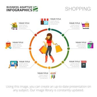 Winkelen infographics dia sjabloon