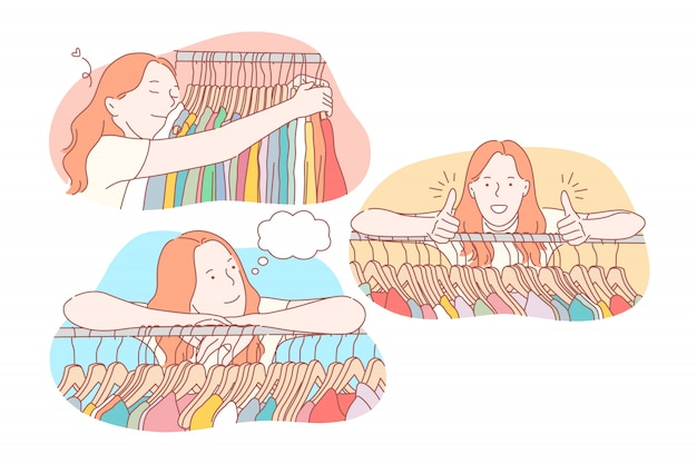 Winkelen, kleding, collectie, verkoop ingesteld concept