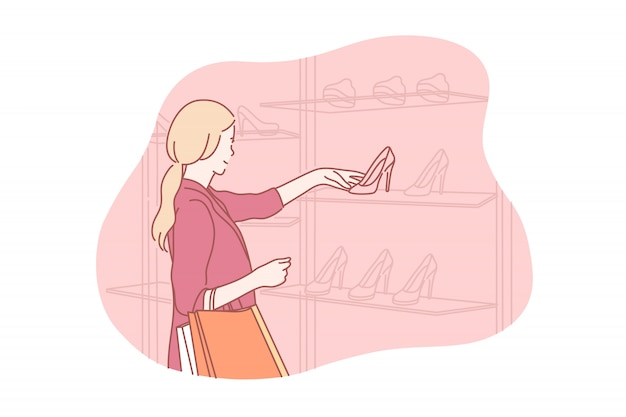 Winkelen, kopen, schoenen, illustratie