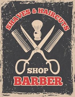 Winkelen logo in retro stijl. barbershop poster salon, kapperswinkel vintage, illustratie
