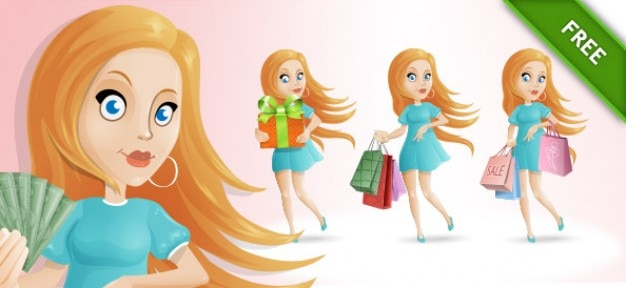 Winkelen meisje blonde cartoon vector set