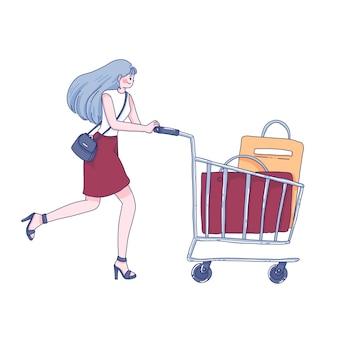 Winkelen meisje karakter cartoon afbeelding.