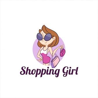 Winkelen meisje mascotte-logo
