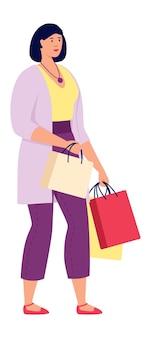 Winkelen meisje met cadeau tassen geïsoleerd op white