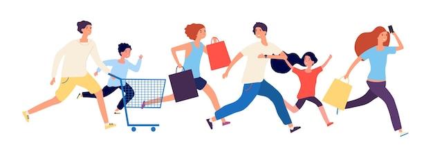Winkelen mensen. man vrouw kinderen rennen naar de winkel.