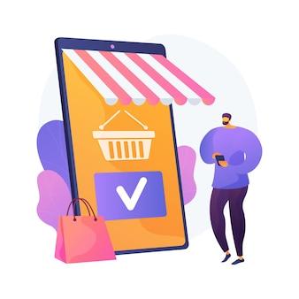 Winkelen mobiele app, online winkelservice. smartphone-applicatie, internetaankoop, bestelling plaatsen. klant stripfiguur. product aan winkelwagen toevoegen. vector geïsoleerde concept metafoor illustratie.