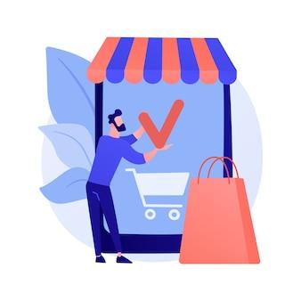 Winkelen mobiele app, online winkelservice. smartphone-applicatie, internetaankoop, bestelling plaatsen. klant stripfiguur. product aan winkelwagen toevoegen.