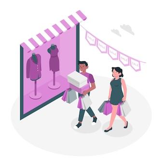 Winkelen niet online concept illustratie
