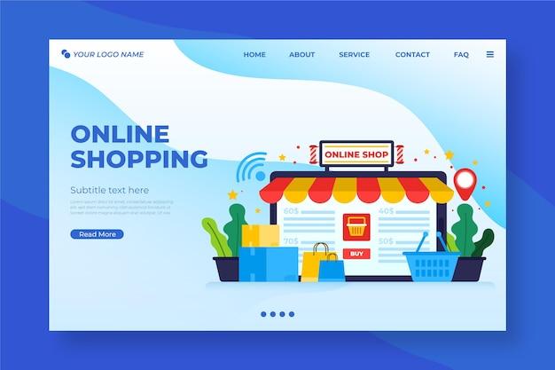 Winkelen online bestemmingspagina in plat ontwerp