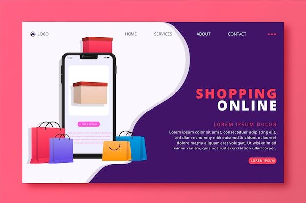 Winkelen online bestemmingspagina plat ontwerp
