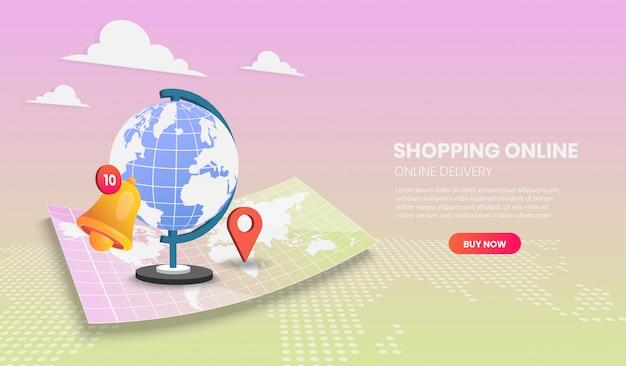 Winkelen online illustratie concept. online bezorgservice. 3d vector illustratie.