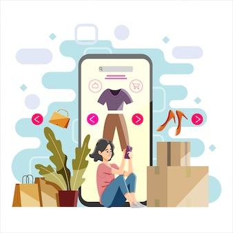 Winkelen online mensen vlakke afbeelding