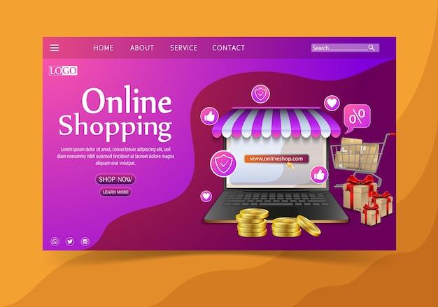 Winkelen online ontwerpconcept met laptop