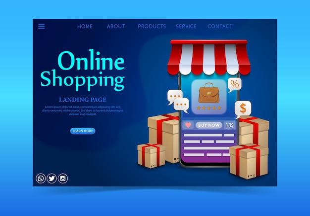 Winkelen online ontwerpconcept op mobiele applicatie met geschenken