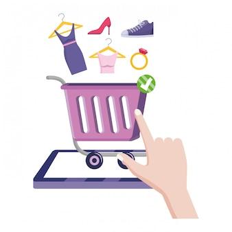 Winkelen online pictogram illustratie
