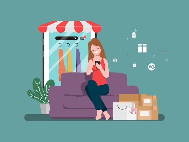 Winkelen online winkelconcept met klant. verkoop online promotieconcept.