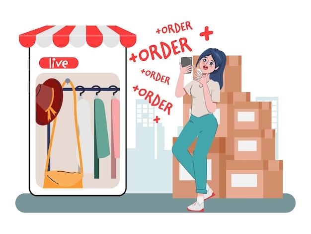 Winkelen online winkelconcept met vrouwelijk karakter