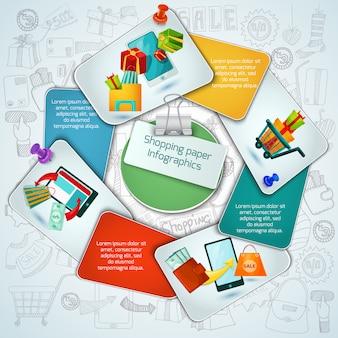Winkelen papier infographics