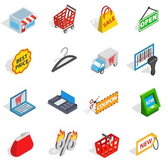 Winkelen pictogrammen in isometrische 3d-stijl. commerce set collectie geïsoleerde vectorillustratie
