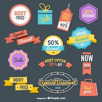 Winkelen retro kleurrijke label