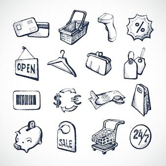 Winkelen schetspictogrammen