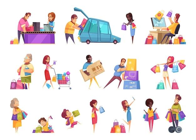 Winkelen shopaholic iconen collectie van geïsoleerde cartoon-stijl afbeeldingen en menselijke karakters van mensen met goederen