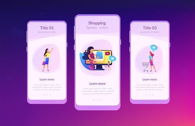 Winkelen sprees video app interface sjabloon.