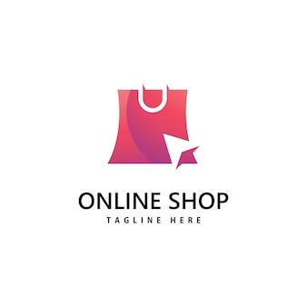 Winkelen tas winkel logo. online winkelen logo-ontwerp