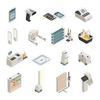 Winkelen technologieën isometrische icons set