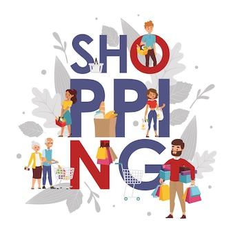 Winkelen typografie poster